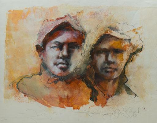 Jungs, 2012, 43x34, Öl/Graphit/Papier, P18                       ©Raimund Egbert-Giesen