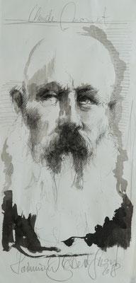Claude Monet, 2018, 55x27, Tusche/Bütten, P40                       ©Raimund Egbert-Giesen