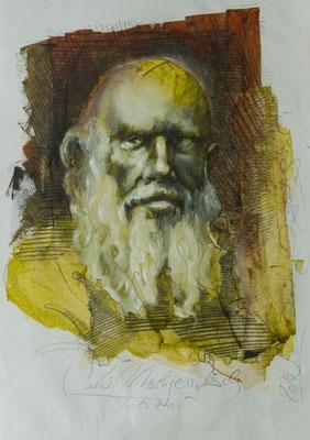Tolstoi, 2014, 47x37, Mischtechnik/Papier, P22                       ©Raimund Egbert-Giesen