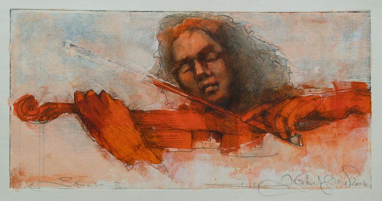 Sonate II, 2016, 39x19,5, Radierung/Öl/Bütten, P2                       ©Raimund Egbert-Giesen