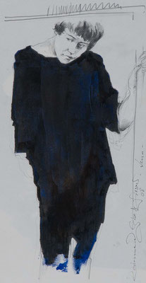 Lena, 2008, 43,5x23cm, Öl/Graphit/Papier, P87                       ©Raimund Egbert-Giesen