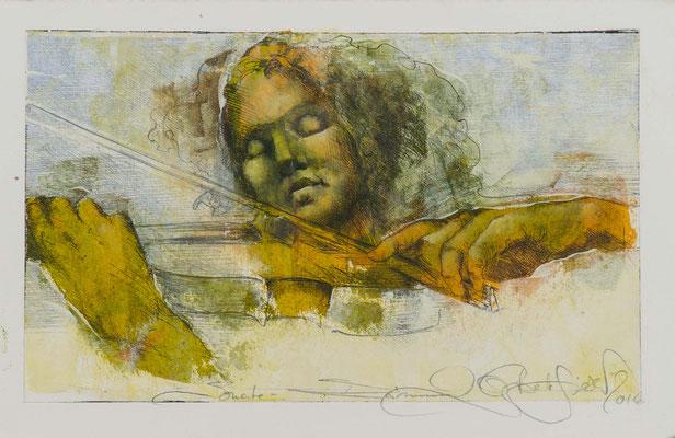 Sonate I, 2016, 32x19cm, Radierung/Öl/Bütten, P45                       ©Raimund Egbert-Giesen