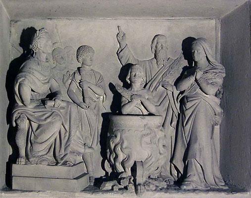 Relief Hl. Vitus im siedenen Ölfass