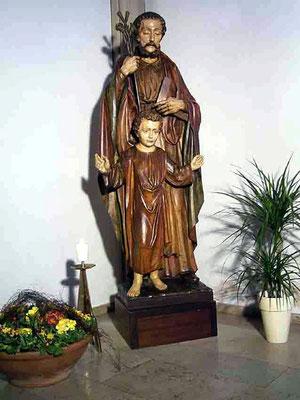 große Holzfigur Hl. Joseph und Jesus