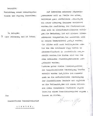 1940 - Pfr. Harrier bittet Generalvikariat in Münster um Baugenehmigung