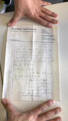 Rechnung von Alfred Nathaus aus dem Jahr 1982