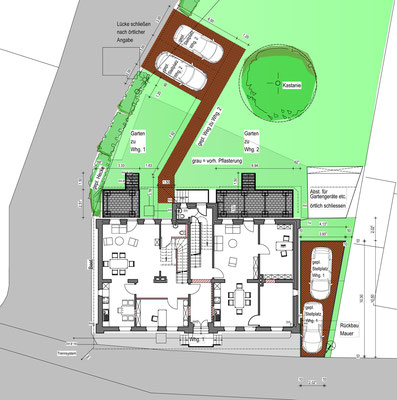Grundriss Erdgeschoss mit Garten und Stellplätzen