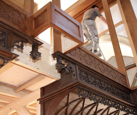 Auch alte Orgelgehäuseteile kommen zum Einsatz