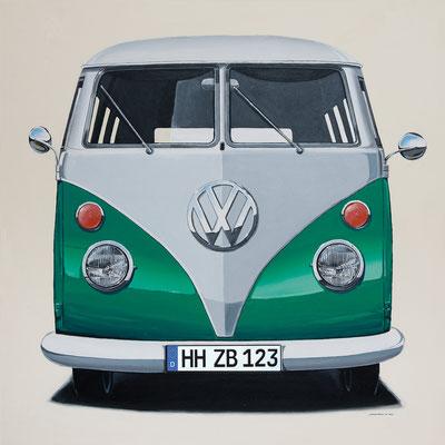 VW Bus grün Leinwanddruck