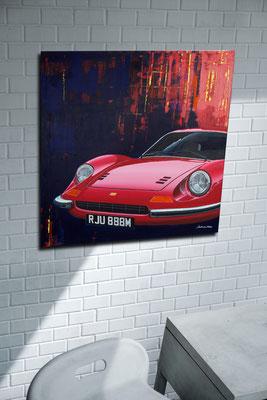 Ferrari Druck auf Leinwand in Wohnraum