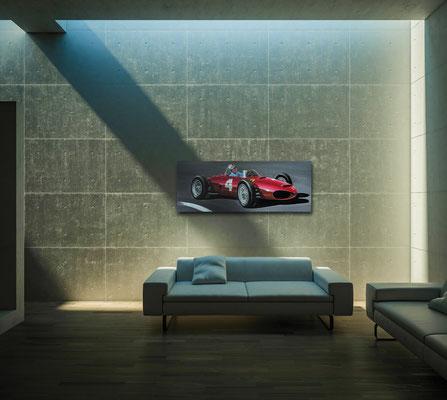 Moderner Living Room mit Kunst/Druck Rennfahrermotiv