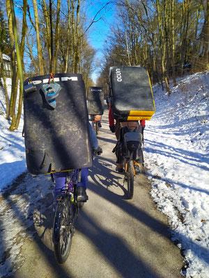 13.02.21 Vormittag: -6°C, Kletterer m. Sturzmatten