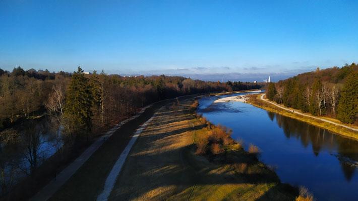 Blick gen München von der Großhesseloher Brücke, 24.11.XX