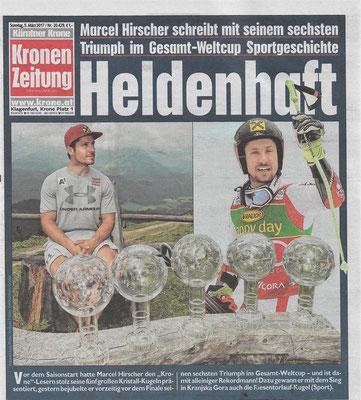Am 04. März 2017 schreibt Marcel Hirscher in Kranjska Gora mit seinem sechsten Gesamt-Weltcup-Sieg Sportgeschichte