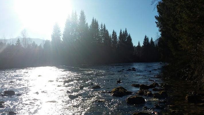 Zusammenfluß der wilden Alpenflüsse Schlitza und Gail