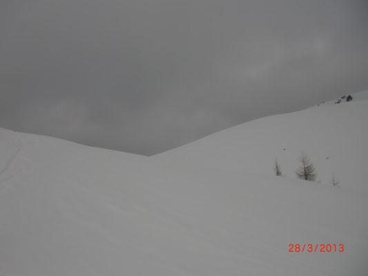 Der Sattel zwischen Monte Cocco(Italien) und Schönwipfel (Österreich)