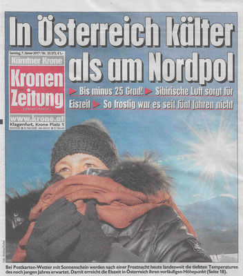 Kronen Zeitung 07.01.2017 In Österreich kälter als am Nordpol