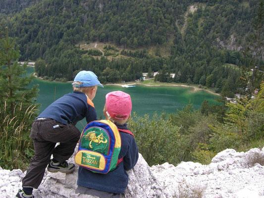 Wunderbarer Tiefblick zum Raibler See