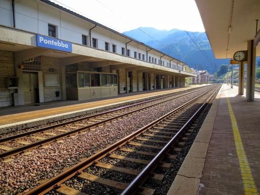 Der verwaiste Bahnhof von Pontebba...