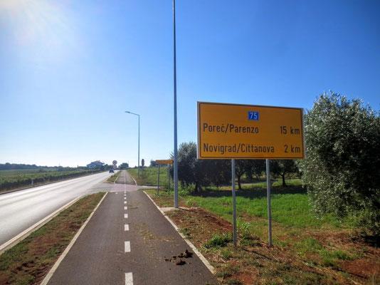 Neu ausgebauter Radweg Richtung Novigrad