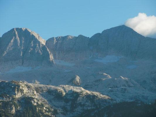Die spärlichen Gletscherreste am Kanin