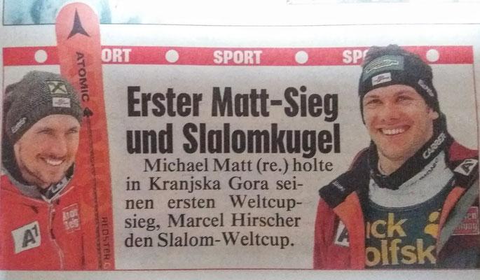 Michael Matt gewinnt in Kranjska Gora sein erstes Weltcup-Rennen
