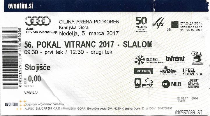 Eintrittskarte FIS Ski Weltcup Kranjska 2017