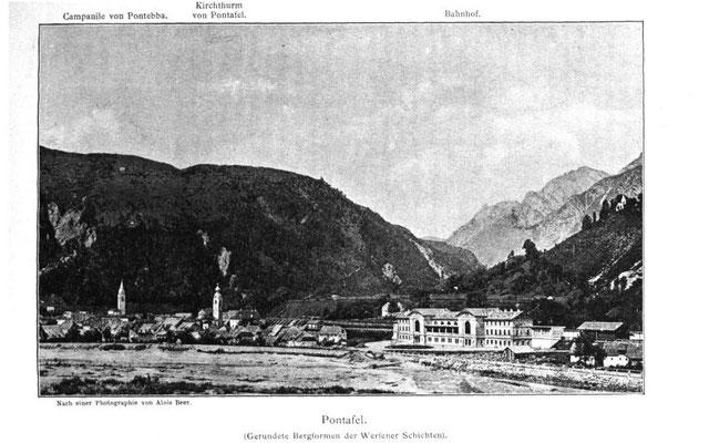 Historische Aufnahme des Bahnhofes Pontafel (heute Pontebba) - der schönste Bahnhof der Monarchie