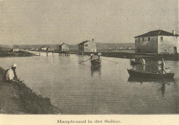 Der Hauptkanal der Salinen von Secovlje - Sicciole 1893