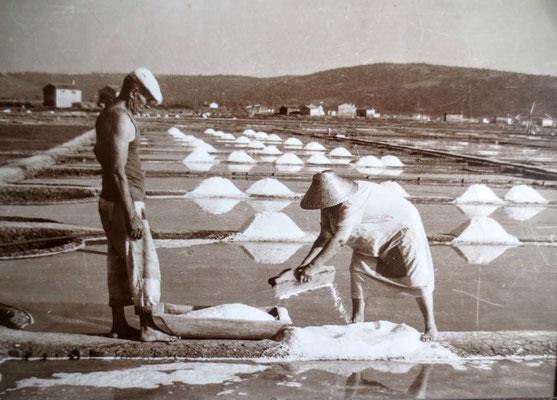 Historische Aufnahme der Salzgewinnung in den Salinen von Secovlje