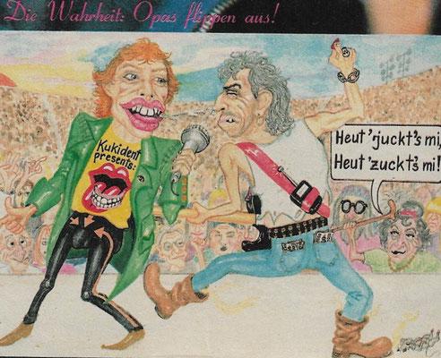 Rolling Stones Comic aus dem Rennbahn-Express im Jahr 1989 ! Mick Jagger und Keith Richards als alte Opas - damals waren sie gerade Mitte 40!