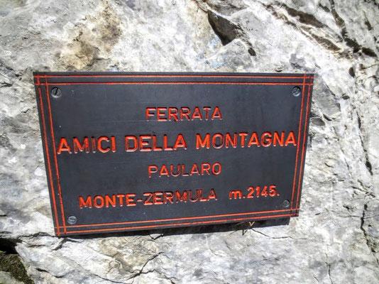 """Einstieg in den Klettersteig """"Via ferrata Amici della Montagna"""" auf den Monte Zermula"""