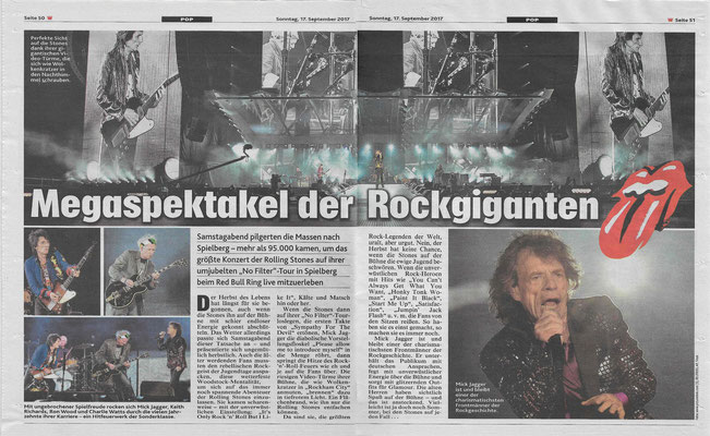 Kronen Zeitunung zum Konzert der Rolling Stones in Spielberg