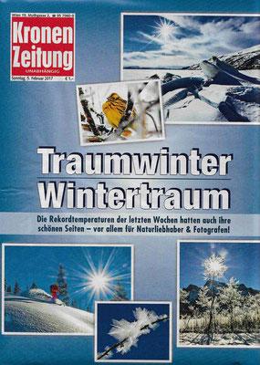 Auch die Kronen Zeitung titelt nach den Rekordtemperaturen der letzten Wochen von einem Traumwinter und Wintertraum
