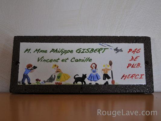 Plaque de maison illustrant la famille (chacun sa passion)ou toute autre illustration...