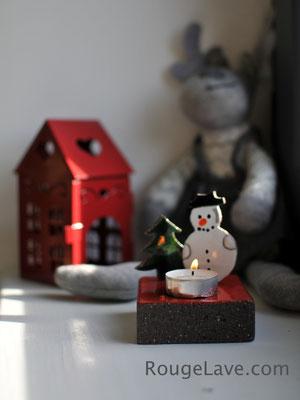 Bougeoir de Noël en lave émaillée - RougeLave.com