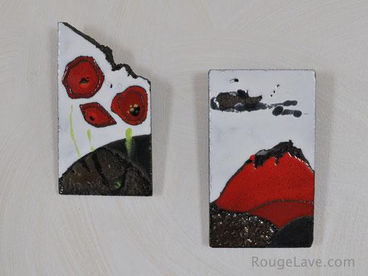 Coquelicots et volcan