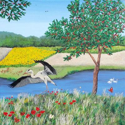 L'été (lac, cerisier, héron, papillons, coquelicots, cygnes, champs). Peinture acrylique sur toile.