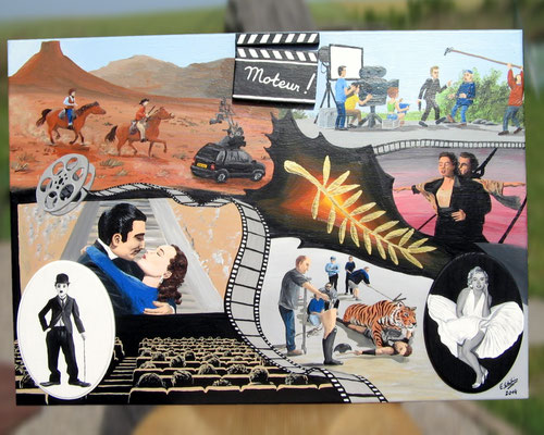 Peinture acrylique sur toile avec relief représentant le 7e art : le Cinéma. Western, film romantique, peplum, tournage d'un film, salle de cinéma, bande cinématographique, et 2 stars du cinéma : Marilyne Monroe et Charlie Chaplin