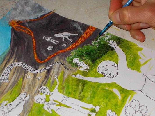 Peindre l'arrière-plan à la gouache. Image d'accueil de COBEditions, des BD pédagogiques pour enfants, les aventures de Julie et Beau Prince, par Emmanuelle OLGUIN