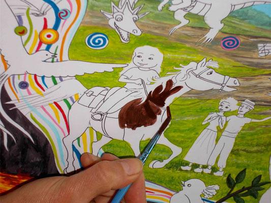 Peindre les personnages à la gouache. Image d'accueil de COBEditions, des BD pédagogiques pour enfants, les aventures de Julie et Beau Prince, par Emmanuelle OLGUIN