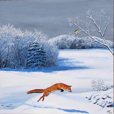 L'hiver (neige, renard, mésange bleue). Peinture acrylique sur toile.