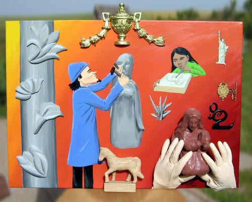 Peinture acrylique sur toile représentant le 2e art : la Sculpture. 2 sculpteurs au travail, différentes réalisations en relief, de différents styles : cheval de bois, moulure d'or, statues de pierre et d'argile, la statue de la Liberté, ...