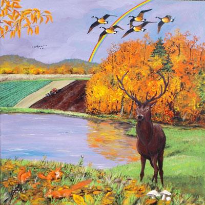 L'automne (lac, oies sauvages, cerf, écureuils, champignons). Peinture acrylique sur toile.