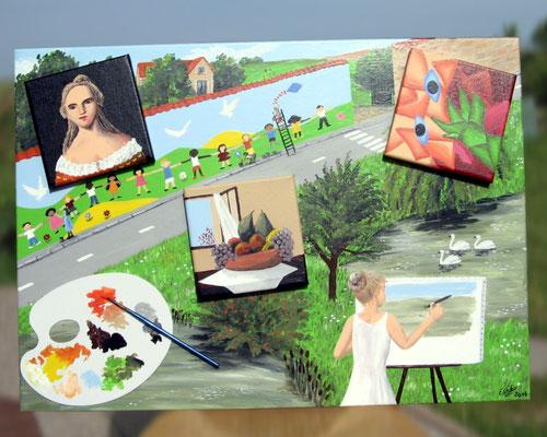 Peinture acrylique sur toile avec relief représentant le 3e art : la Peinture. Des peintres peignent une fresque et une toile. 3 mini-tableaux collés, de 3 styles différents (portrait, nature morte, cubisme) ainsi qu'une palette de couleurs et un pinceau