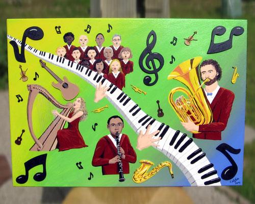 Peinture acrylique sur toile avec relief représentant le 4e art : la Musique. Une chorale, un clarinettiste, une joueuse de harpe, un tubiste et un piano. Une clé de sol, des notes de musique et quelques instruments (saxo, trompette, violon, guitarre).