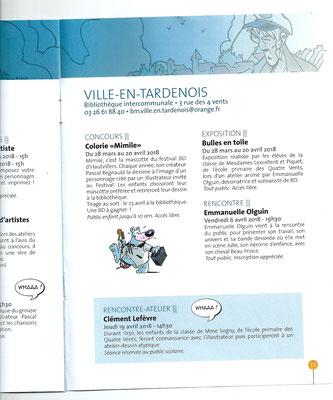 Des cases et des Bulles. Festival de BD 2018. Intervention d'Emmanuelle OLGUIN à l'école et à la bibliothèque de Ville en Tardenois.