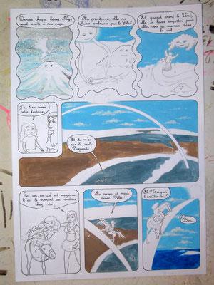 """Technique de réalisation d'une planche de BD à la gouache, étape par étape. """"Entre les pages des volcans"""". Les aventures de Julie et Beau Prince, par Emmanuelle OLGUIN"""