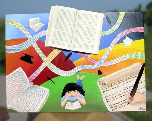 Peinture acrylique sur toile avec relief représentant le 6e art : la poésie et la littérature. Vrai livre ainsi que livres et textes volants. Une main avec une plume écrit un poème. Une petite fille lit. Plume, encrier, stylo, machine à écrire volent.