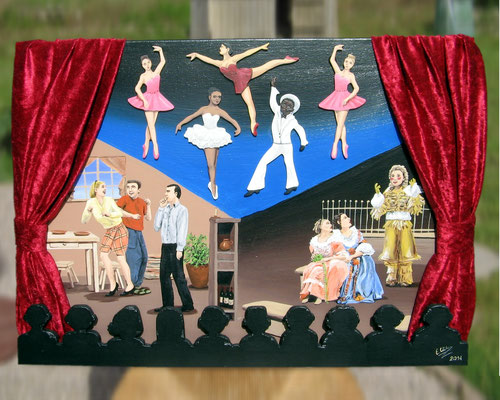 Peinture acrylique sur toile avec relief représentant le 5e art : les arts de la scène (Théâtre et Danse). Rrideau de tissu rouge et spectateurs. Scène divisée en 3 parties : une scène de danse, une scène de théâtre moderne et une de théâtre ancien.